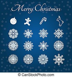 Snowflakes and Marry christmas set. - Snowflakes and Marry...