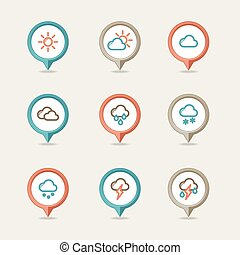 Weather mapping pins icon