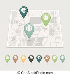 Sports balls mapping pins icons - Mapping pins icons sports...