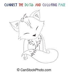 Connect the dots game fox vector illustration - Connect the...