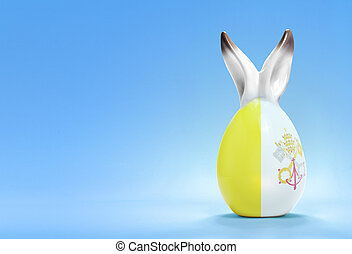 Colorful cute easter egg and the flag of Vatican City series...