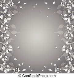 Floral Frame with Flyaway Autumn Foliage in Grayscale Color