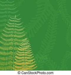 Floral Background with Fern Fronds and Free Space
