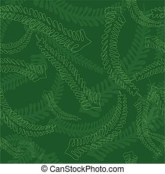 Seamless Fern Leaves Pattern in Green Colors - Seamless Fern...