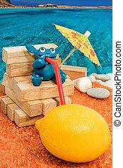 Plasticine monster drinking lemon on the beach - Blue...