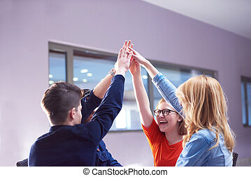 happy students celebrate, friends group together at school,...