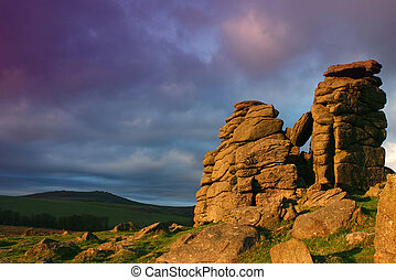 Hound Tor - Magenta clouds drift over Hound Tor on Dartmoor...