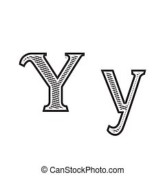 Font tattoo engraving letter Y with shading - Font tattoo...