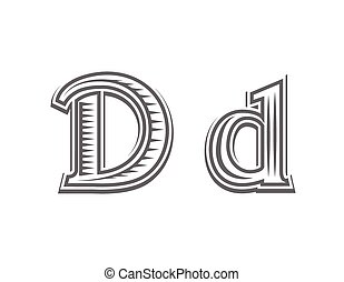 Font tattoo engraving letter D black and white vector...