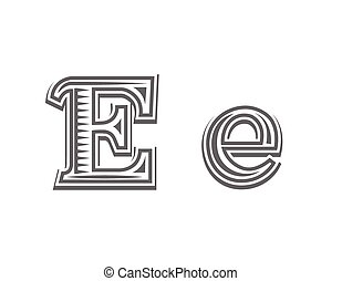 Font tattoo engraving letter E black and white vector...