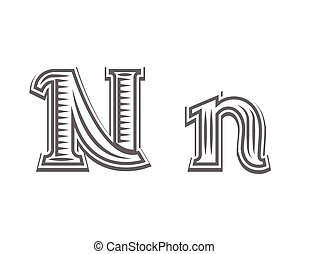 Font tattoo engraving letter N black and white vector...