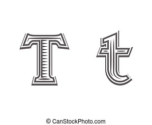 Font tattoo engraving letter T black and white vector...