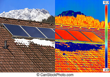 Infrared and real image of Solar Panels - Infrared and real...