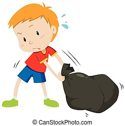 Little boy dragging a black bag illustration