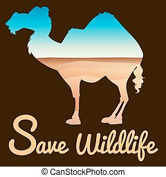 Save wildlife theme with camel and desert