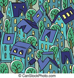 City seamless pattern with roofs - City seamless pattern...
