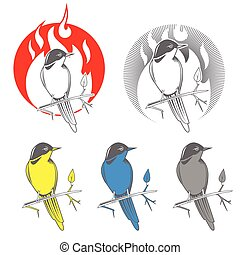 Engraving bird nightingale emblem vector - Engraving bird...