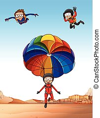 Three people doing skydiving illustration