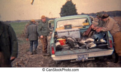 1973: Truck full of hunters headed - Original vintage 8mm...
