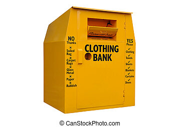 clothing bank isolated - A yellow clothing bank, for...