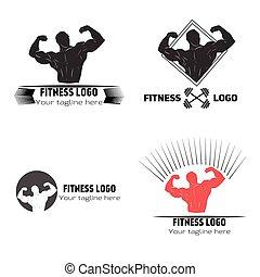 Fitness logo vector illustration hand drawn black red white...