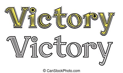 Tattoo engraving word Victory black and white color