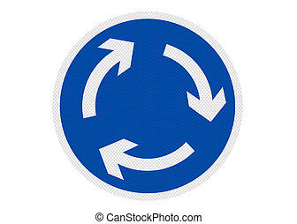 Roundabout sign - Roadsign depicting a roundabout concept of...