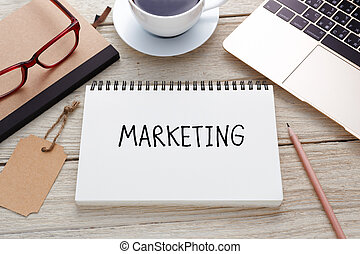 Marketing concept with laptop and brand tag - Marketing...