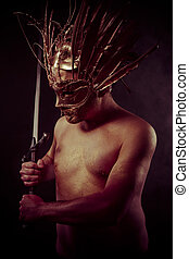 Fighter, warrior with golden mask and huge iron sword, body...