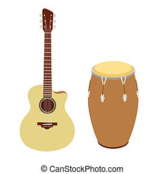 Guitar and conga drum vector illustration - Guitar and conga...