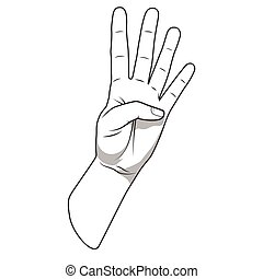 Palm hand number four gesture vector illustration - Palm...