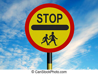 School Crossing Patrol sign - Reflective metallic school...