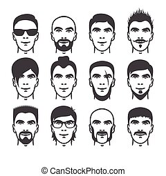 man faces set - Set of close up different hair, beard and...