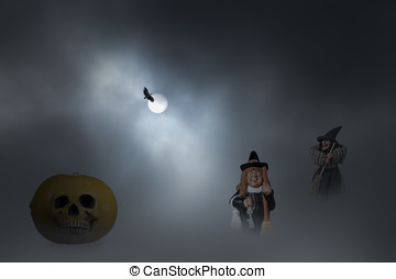 Halloween witches night - Halloween composition with...