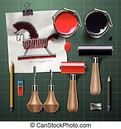Set of  tools and supplies for engraving