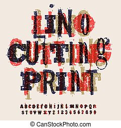 Linocut letters and numbers, artistic alphabet