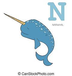 Alphabet letter N narwhal  children vector