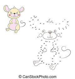 Connect the dots game mouse vector illustration - Connect...