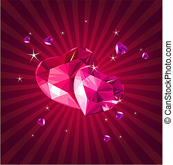 Valentine card with crystal hearts