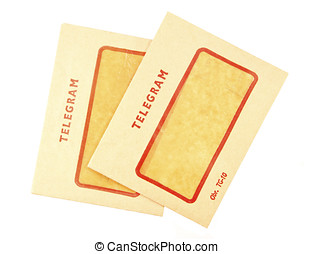 Two old telegram envelopes on white