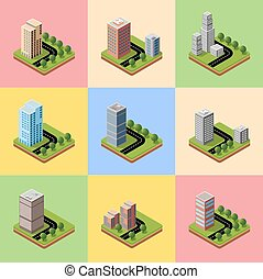 A set of isometric urban neighborhoods with high-rise...