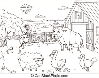 Coloring book farm cartoon educational artwork vector...