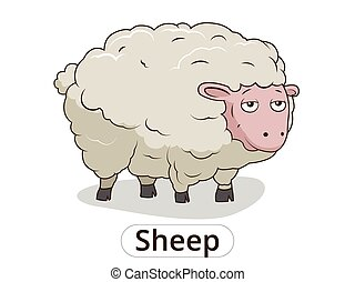 Sheep animal cartoon illustration for children