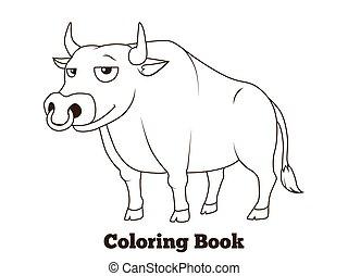 Coloring book bull cartoon educational