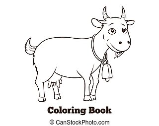 Coloring book goat cartoon educational vector illustration