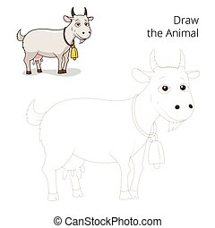 Draw the animal goat educational game vector illustration