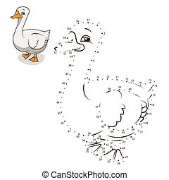 Connect the dots game goose vector illustration - Connect...