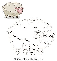 Connect the dots game sheep vector illustration - Connect...