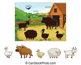 Match the animals to their shadows child game vector...
