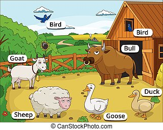 Farm animals with names cartoon educational illustration